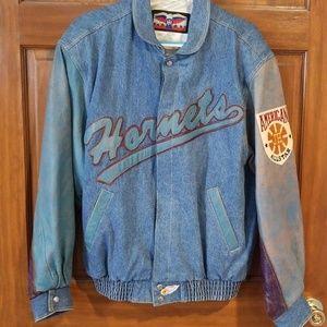 Jeff Hamilton NBA Hornets Denim & Leather Jacket
